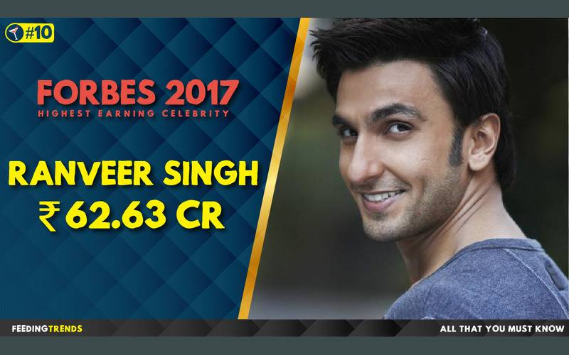 Ranveer Singh  ,Forbes, Forbes 2017, Forbes List 2017, India, Bollywood, Celebrities, Celebs, Entertainment, Bollywood entertainers, Income of Cricketers