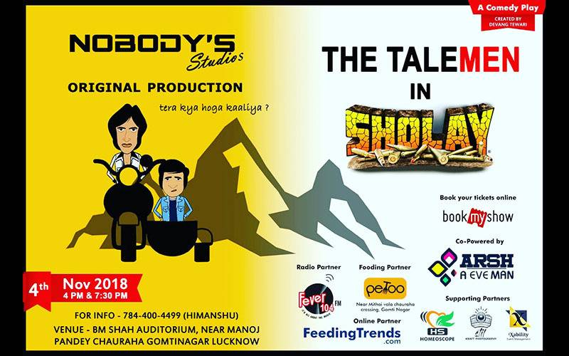 events in lucknow, sunday night, sholay remake, press release of nobody studio, dainik jagran reviews of chandramukhi theater in lucknow, bookmyshow, book my show, tickets to theater, page three events in lucknow, times of india, talemen in sholay, feeding trends, feeding trends article, events happening in lucknow, weekend in lucknow, things to do in diwali in lucknow, lucknow party, where to go on dhanteras, theater, theater in lucknow, comedy play, stand up comedy, devang Tiwari, nobody studio, chandramukhi,  youth in lucknow, youth events, play in lucknow, what to do in lucknow, where to visit in lucknow, lucknow, events happening in lucknow, comedy nights in lucknow, article on feeding trends, not to miss, lucknow local, colleges in lucknow, Lucknow bula raha hai, Lucknow theater group, Diwali 2018, lucknow original theater, theater events in lucknow, rising stars of lucknow, devang tiwari lucknow, rising star of lucknow